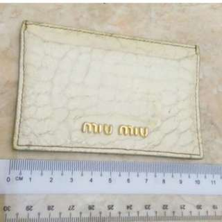 AUTHENTIC MIU MIU EMBOSSED LEATHER CARD HOLDER - WHITE COLOR - RM 50 ONLY