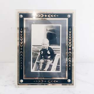 Vintage Deco Black Blossom Glass Photo Frame