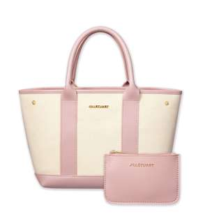 🇯🇵 JILL STUART Pink Canvas Tote Bag & Pouch Set from Japan (Brandnew)