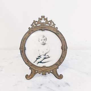 Antique French Gilt Brass Round Photo Frame