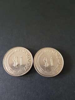 1980 Singapore 1 Dlr (2 pcs)