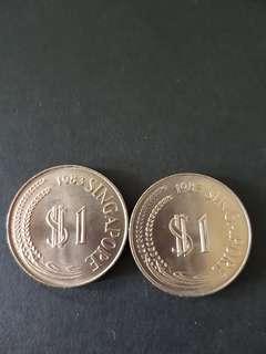 1983 Singapore 1 Dlr (2 pcs)