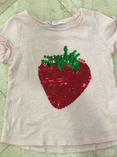 H&M Strawberry Sequence Shirt