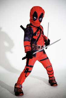 🚚 Marvel Comics DeadPool Kids Birthday Party Halloween Cosplay Dress Up Costume- swords not included