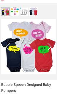 Customised Baby Romper/ Onesies and Bib Set - Animal designs and many more