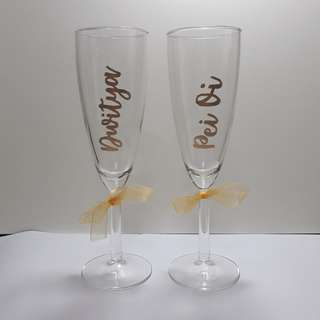 Personalised Champagne Glass Wine Glass Customised Names Name Wedding Gift Birthday Present Birthday Party Anniversary Gift Calligraphy Emboss Teachers' Day Corporate Gift Graduation Gift Bridesmaids Gift Box Bridesmaid Gift Farewell Gift Couple Gift