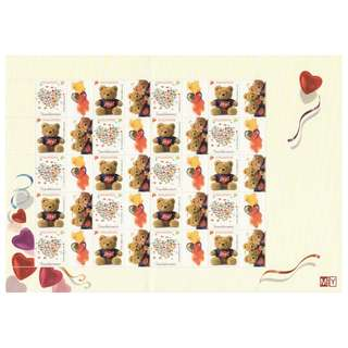 SINGAPORE 2003 GREETING STAMPS - JOY & CARING TEDDY BEAR MYSTAMP COLLECTOR'S SHEET OF 20 STAMPS IN MINT MNH UNUSED CONDITION (FOLDED MARK SHEET)