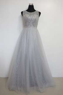 Silver Gray Cloudy White Gown with Bead works and Tulle Skirting
