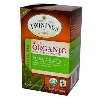 Twinings, 100% Organic Green Tea, Pure Green, 20 Tea Bags, 1.27 oz (36 g)