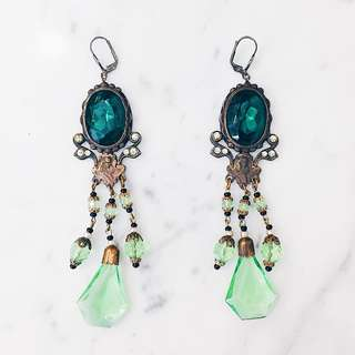Antique Bohemian Art Nouveau Crystal Earrings