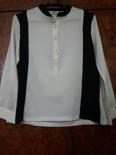 Black and white sheer blouse
