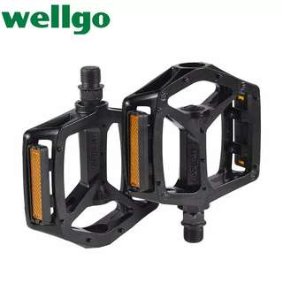 🆕! Black Wellgo Lightweight Aluminum Alloy MTB Bicycle Pedals   #OK