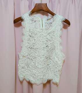 白色通花背心 white lace top 可配wedding gown婚紗晚裝姊妹裙