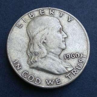 1960D 美國銀幣半美元(50美分)一枚