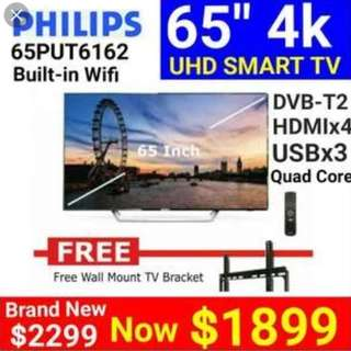 "BRAND NEW PHILIPS 65"" ULTRA HD 4K SMART 3960X2160-RESOLUTION/ 3YEARS PHILIPS WARRANTY- USUAL PRICE $2299/ SPECIAL NATIONAL DAY PROMO-$1899-ONLINE PROMO WITHOUT WALL MOUNT IS $1699-3 SETS ONLY"