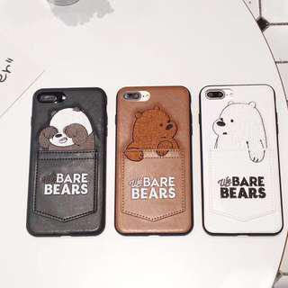 PREORDER - we bare bear iphone case (6/6s/7/8/X & plus)