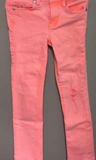 COTTON ON KIDS PEACH RIPPED PANTS