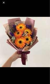 Orange Gerberas with Baby Breath / Graduation Bouquet