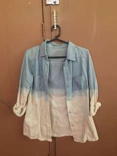 Faded Ombre Denim Long Sleeves Polo