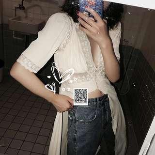 ioz 06 波蘭小眾 法式浪漫蕾絲短袖連身裙罩衫
