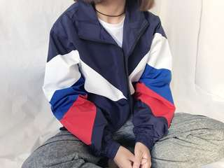 🚚 [PO] ULZZANG tricolor colour block windbreaker