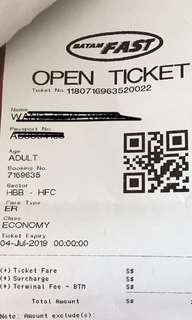 Batamfast ferry ticket from harbour bay Batam to harbourfront Singapore