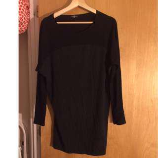 Long sleeve black top/tunic (size XS)