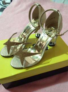 Figlia Eve Gold Glass Heeled Shoes