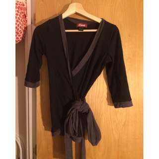 Black & grey wrap top (size S)