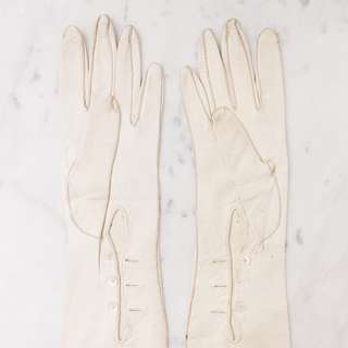 Antique Victorian Kid Leather White Elbow Gloves