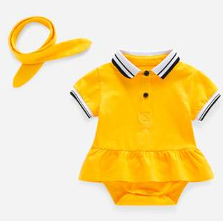 Yellow Polo Romper with Matching Headband (Sz 73)