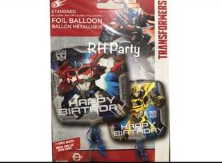 (18/6) Include Helium Happy Birthday transformer foil balloon (bumblebee) dual design