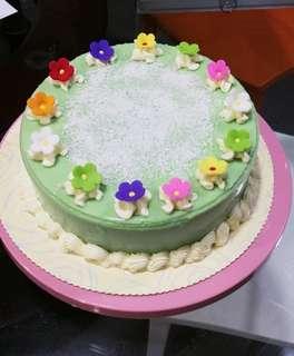 Homemade Pandan layer cake
