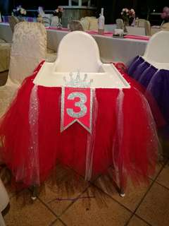 High Chair Tutu Skirt for Birthday Party
