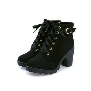 Lace Up Boots Bootie Heels
