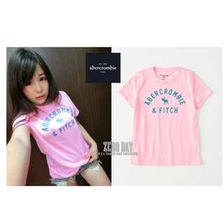 美國A&F真品Abercrombie&Fitch girl logo graphic tee麋鹿短袖T-粉紅色