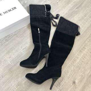 Stunning New suede zipped knee boots lace detailing 36 5.5 5 225 $250