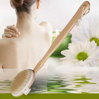 (112)Natural Long Wood Wooden Body Brush Massager Bath Shower Back Spa Scrubber