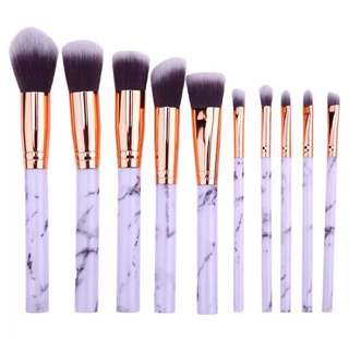🚚 10pcs Marble Makeup Brushes (INSTOCK)
