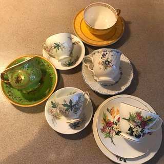 Assortment of gorgeous cup and saucer sets