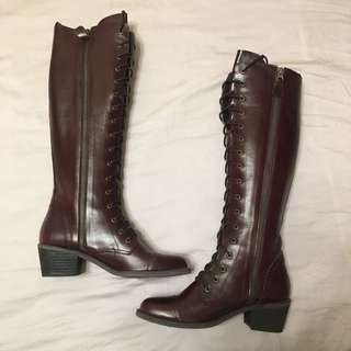 🚚 全新 深酒紅色皮質長靴