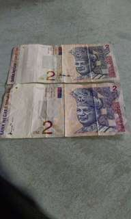 Dua keping Rm 2 ringgit untuk dijual boleh mintak kurang