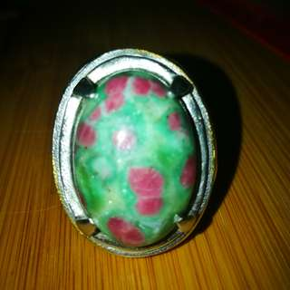 Natural Ruby Zoisite Gemstone Ring Metal Titanium Size 9. Asli Batu. No Fake or Man made.
