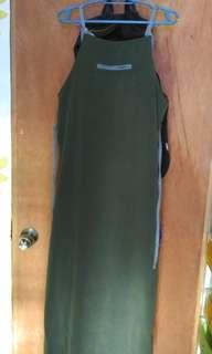 long casual dress navy green