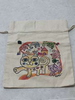Cat draw string pouch