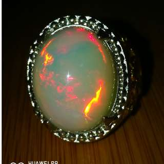 Natural Opal Crystal Ethiopian Welo Opal with Red Spark. Asli Batu. Titanium Ring. Size 9.