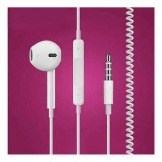Headset with mic Spring Retractable Cable
