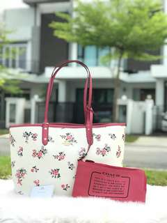 Coach Reversible City Tote with Cross Stitch Floral (f25860)