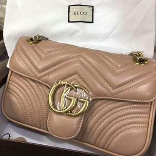 Gucci Marmont Matelassé Shoulder Bag in Nude