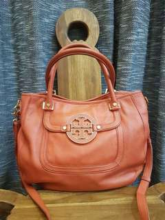Tory Burch Amanda Pebbled Satchel Orange